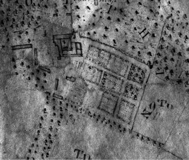 Detail of the 1786 survey plan showing the house and Great Garden at Godolphin see Journal cover for the plan in colour (Reproduced by kind permission of the Cornwall County Record Office, Truro) (Photograph: author, 2008