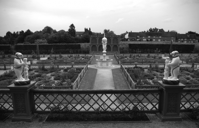 View from the terrace of the reconstructed garden at Kenilworth Castle, Warwickshire  (Photograph: author, 2009