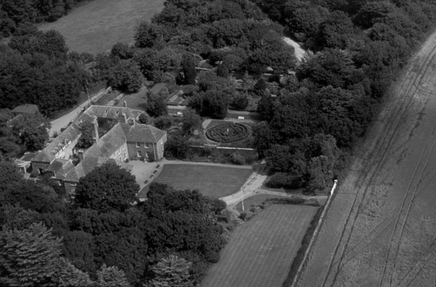 Rosteague seen from the air in 2003, with the French Garden in the centre