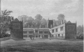 J W Stockdale, engraved view of the east front of Lanhydrock, c 1827