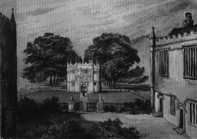 Charlotte Treherne, watercolour view looking east from the house across the Inner Court towards the gatehouse, 1833