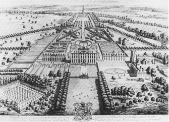 Wimpole Hall, Cambridgeshire, 1707 engraving by J. Kip after L. Knyff showing the formal gardens laid out by the second Earl of Radnor