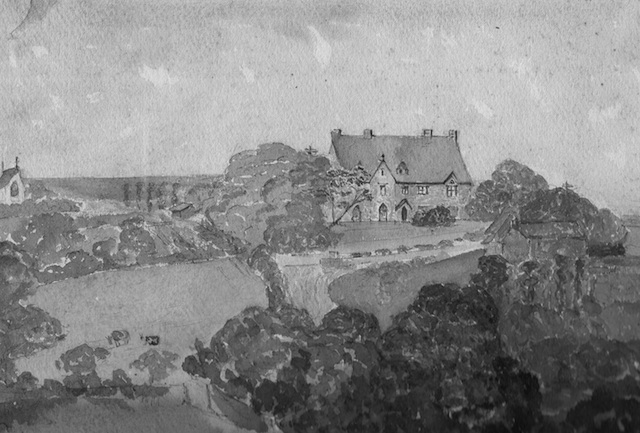 The Parsonage House, Little Petherick from a watercolour by Lady Beatrice Molesworth, 1858